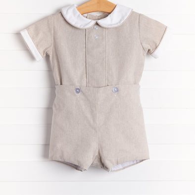 Anvy Kids Charles Button-On Set, Sand Linen