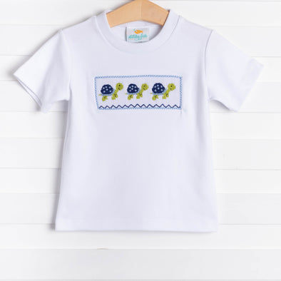 Stitchy Fish Smocked Turtle Shirt