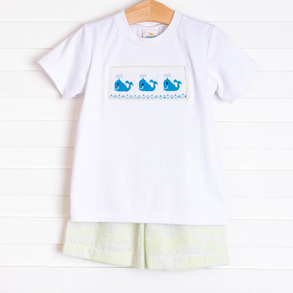 Whale of a Time Smocked Short Set, Light Green Seersucker