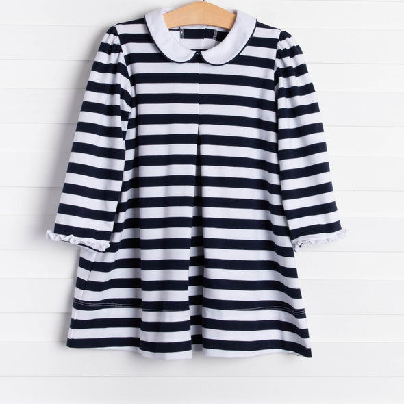 Lullaby Set Navy and White Stripe Knit Dress