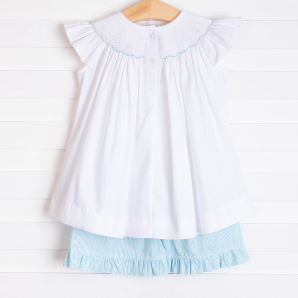 Whales and Waves Smocked Ruffle Short Set, Aqua Stripe