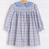 Jana Long Sleeve Dress, Blue Plaid