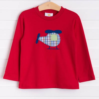 Fly Away Helicopter Applique Shirt, Red