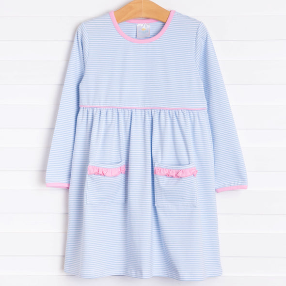 Josie Popover Dress, Blue Stripe
