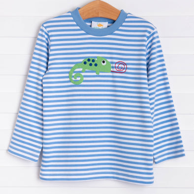 Little Chameleon Applique Shirt, Party Blue Stripe