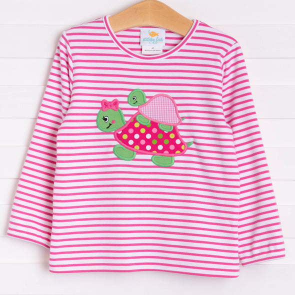 Turtle Friends Applique Shirt, Fuchsia Stripe