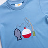 Gone Fishing Applique Shirt, Party Blue