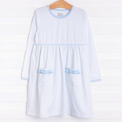 Josie Popover Dress, Blue Dot