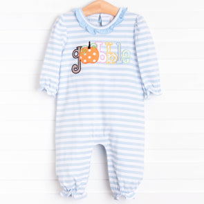 Gobble Gobble Romper, Light Blue