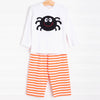 Spooky Spider Applique Pant Set, Orange Stripe