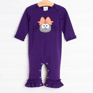Spooky Spider Applique Girl Romper, Purple