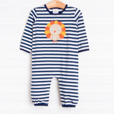 Mr. Turkey Romper, Navy Stripe
