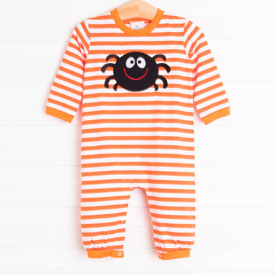 Spooky Spider Applique Boy Romper, Orange Stripe