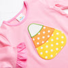Candy Corn Applique Romper, Pink