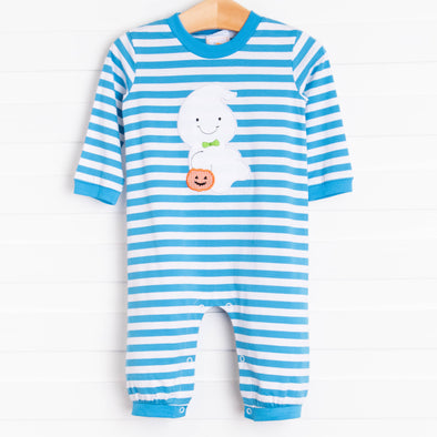 Boo! Ghost Boy Romper, Blue Stripe