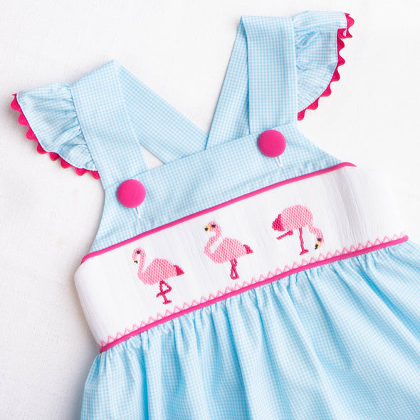 Flamingo Mingle Smocked Dress, Blue Gingham