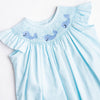 Whales and Waves Smocked Bloomer Set, Aqua Stripe