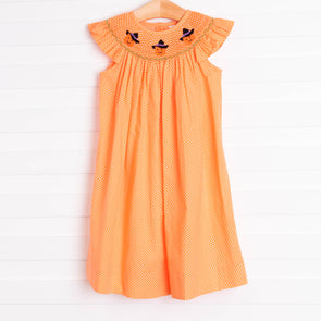 Trick or Treat Smocked Dress, Orange Bitty Dot