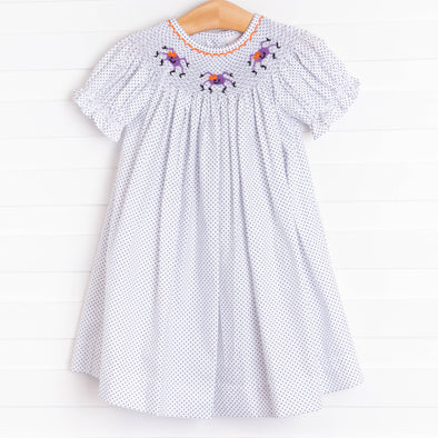 Spooky Spider Smocked Dress, Black Bitty Dot