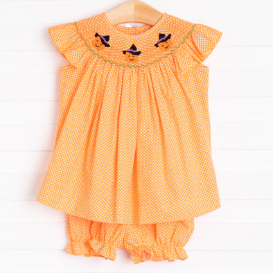 Trick or Treat Smocked Bloomer Set, Orange Bitty Dot