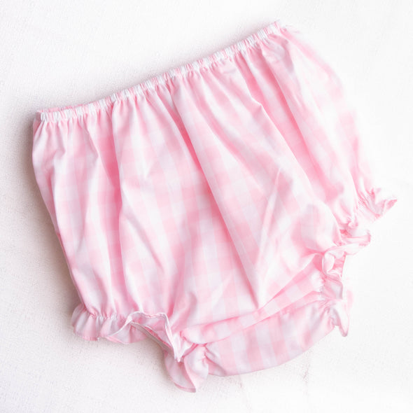 Fruit For Thought Applique Diaper Set, Pink Check