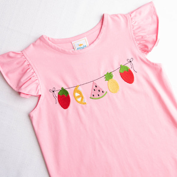 Fruit For Thought Applique Short Set, Pink Check