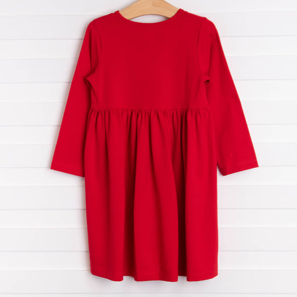 O' Christmas Tree Applique Dress, Red