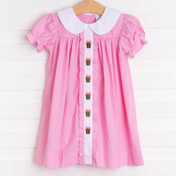 Holiday Gifts Embroidered Dress, Pink Gingham