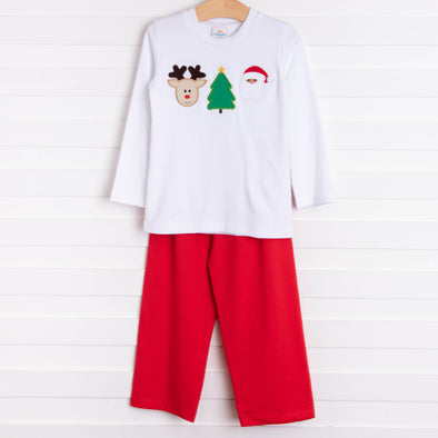 Holiday Favorite Trio Applique Pant Set, Red
