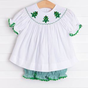 Christmas Tree Trio Smocked Bloomer Set, Green Gingham