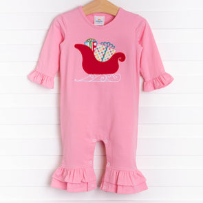 Many Gifts Applique Romper, Pink