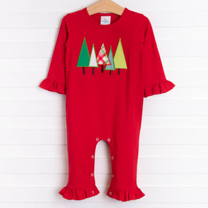 O' Christmas Tree Applique Romper, Red