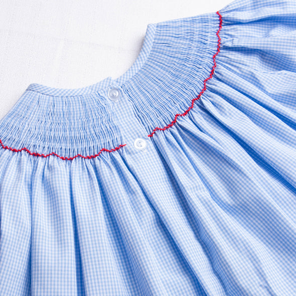 Santa's Smile Smocked Ruffle Pant Set, Light Blue Gingham