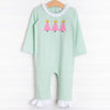 Three Little Trees Applique Romper, Green Stripe