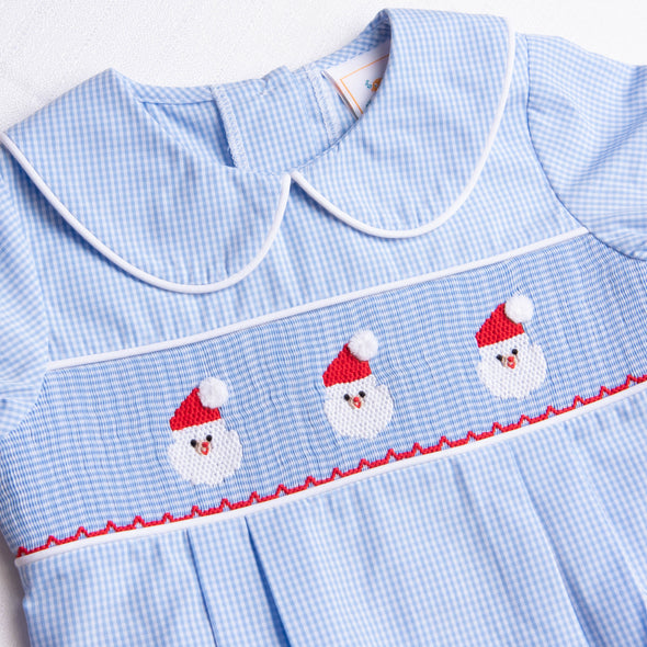 Santa's Smile Smocked Bubble, Light Blue Gingham