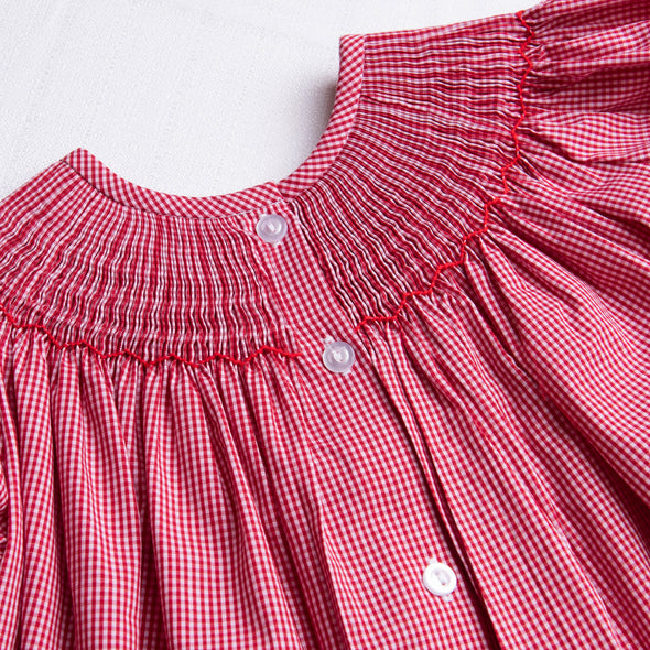 Santa's Reindeer Smocked Dress, Red Gingham