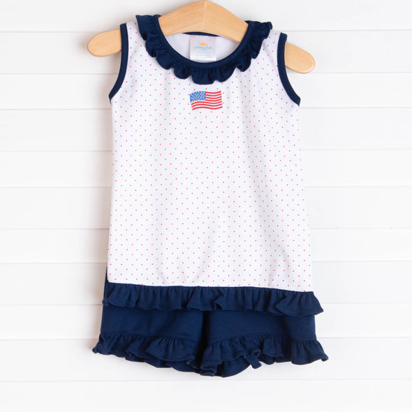 Stars and Stripes Pima Short Set, Red Bitty Dot