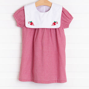 Candy Cane Embroidered Bib Dress, Red Gingham