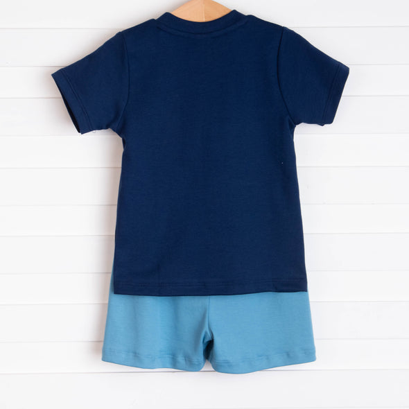 I'll Be Sea-ing You Pima Short Set, Navy