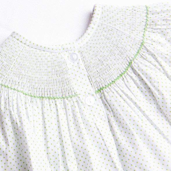 Turkey Smocked Dress, Green Bitty Dot