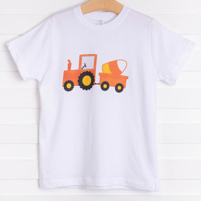 Candy Corn Tractor Graphic Tee, White