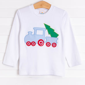 All Aboard Christmas Tree Applique Shirt, White