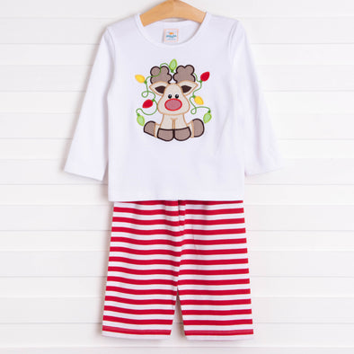 Rudy Reindeer Applique Pant Set, Red Stripe