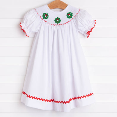 Happy Holidays Smocked Dress, White