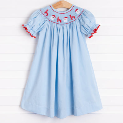 Santa's Coming Smocked Dress, Light Blue