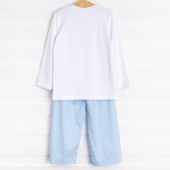 Santa's Coming Smocked Pant Set, Light Blue
