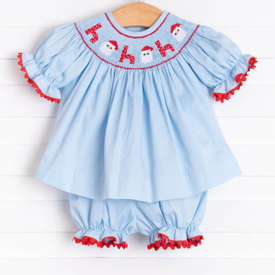 Santa's Coming Smocked Bloomer Set, Light Blue