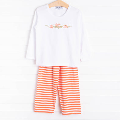 Sweet Dreams Pumpkin Pant Set, Orange Stripe