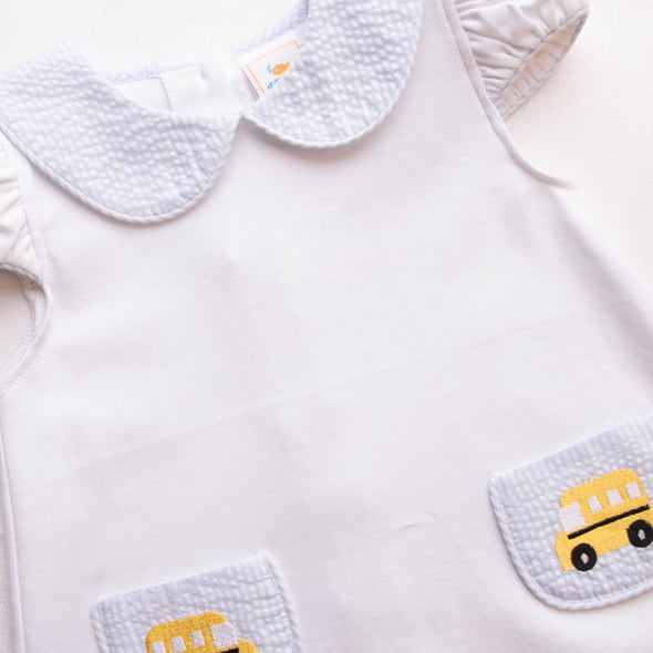 Bus Stop Embroidered Bloomer Set, Blue