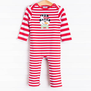 Three Sisters Frosty Applique Boys Romper, Red Stripe